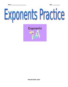 This practice activity provides students a chance to show their understanding of the power properties. There are some higher order thinking problems where students have to determine the exponent value for an expression with a given answer vs simply evaluating an expression.