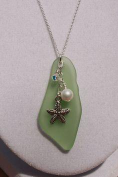 Peridot Recycled Glass Pendant by ChelestersCreations on Etsy #jewelryideas #fakeseaglassdiy  #JewelryDIY