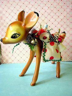 Vintage Adorable Deer Holiday Decoration by Bethsbagz on Etsy