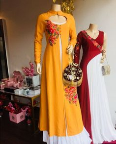 Beautiful Dresses with superb embellishments with embroidery and cuts. Pakistani Dresses, Indian Dresses, Indian Outfits, Western Outfits, Kurta Designs, Blouse Designs, Sari, Indian Attire, Indian Designer Wear