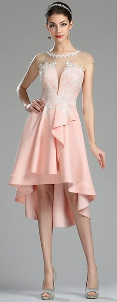 eDressit Unique Pink Lace Appliques Short Cocktail Dress