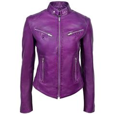 New 'SPEED' SR01 Ladies Purple Retro Biker Style Fitted Motorcycle... ($176) ❤ liked on Polyvore featuring outerwear, jackets, retro leather jacket, purple jacket, fitted motorcycle jacket, retro jackets and fitted leather jackets