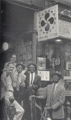 At Izzy young's Folklore Center, MacDougal Street, NYC, l-r Sam charters, Izzy Young, Memphis Willie B., Furry Lewis, and Gus cannon, 1964 (Photo by Ann Charters)