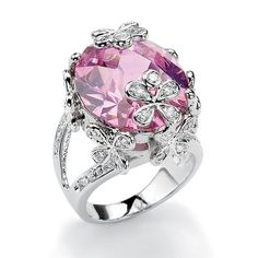 Palm Beach Jewelry Silvertone Pink and White Cubic Zirconia Flower Ring