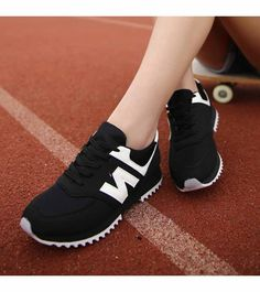 Women's #black running shoe #sneakers pattern print, letter print, sewing thread design, Lace up style, casual sport, athletic, running occasions.