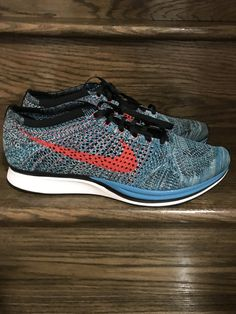 get cheap 2454f 8647d New Mens Nike Flyknit Racer Neo Turquoise  Crimson Running Shoes Sz. 13 ID