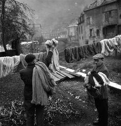 hanging yarn to dry
