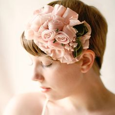 Smooth short hair with a pink floral headband/fascinator - etsy shop WhichGoose