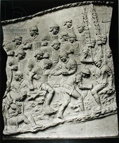 Roman Soldiers Treating the Wounded, a cast taken from Trajan's Column, AD 113 (marble) (b/w photo). Roman, (2nd century AD). Museo della Civilta Romana, Rome, Italy