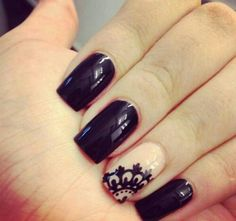 Black lace nail design