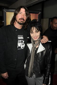 """Dave Grohl and Joan Jett arrive at the premiere of """"Sound City"""" at ArcLight Cinemas Cinerama Dome in Hollywood, California on January 31st, 2013."""