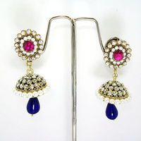 Victorian Elegant Tokri Jhumki Pink Blue