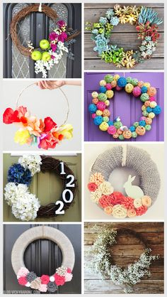 1. Flowers and Fruit | 2. Living Succulents | 3. Crepe Paper Flowers | 4. Rattan Balls | 5. Hydrangeas | 6. Easter Bunny | 7. Felt Flowers | 8. Baby's Breath Spring is officially here! We are so excited for all things Spring, including a new wreath for our front door! Here are 8 wreaths you can make yourself (including ours from last year!). Enjoy!