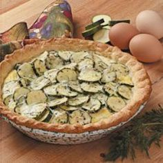 Zucchini Pie Recipe Lunch and Snacks, Side Dishes with crescent rolls, zucchini, garlic cloves, butter, fresh parsley, fresh dill, salt, pepper, shredded Monterey Jack cheese, eggs