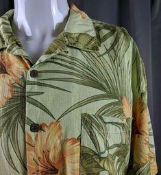 dee4041327 Bermuda Bay Silk Hawaiian Short Sleeve Large Aloha Casual Friday Green  orange | eBay