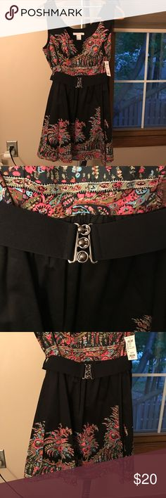 Charlotte Russe Border Print Black Dress Super cute short floral pattern black dress with belt. Perfect for brunch, shower, festive party or a night out. It does have a zipper on the side for a better fitting. The belt is elastic with metallic clasps. Charlotte Russe Dresses Mini