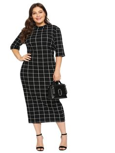 Shop Plus Mock Neck Grid Print Form Fitting Dress online. SHEIN offers Plus Mock Neck Grid Print Form Fitting Dress & more to fit your fashionable needs. Plus Size Dresses, Plus Size Outfits, Dresses For Work, Wrap Dresses, Lace Dresses, Bride Dresses, Wedding Dresses, Short Dresses, Half Sleeve Dresses