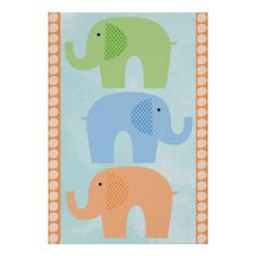 Elephants Baby Boy or Girl  Nursery Poster