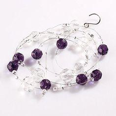 IEVE Glass Crystal Beads Curtain Window Door Curtain Passage Wedding Backdrop (Purple)