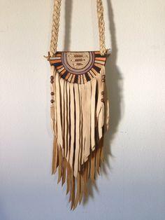 Peach & Lavender Leather Fringe by spiralDRIFT on Etsy, $120.00