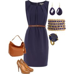 Can't go wrong with Blue & Brown!, created by yjmunson on Polyvore