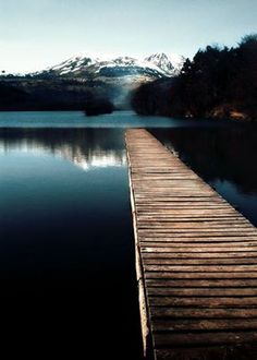 Mountain. Dock. Water. Nature.
