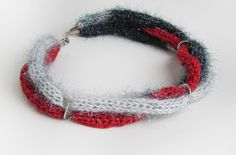 Balck,white  gray and red knitted necklace / Christmas gift by SEVILSBAZAAR on Etsy https://www.etsy.com/listing/213890241/balckwhite-gray-and-red-knitted-necklace