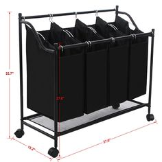 Large Laundry Sorter Glamorous Amazon  Songmics 4Bag Rolling Laundry Sorter With Hanging Bar Decorating Design