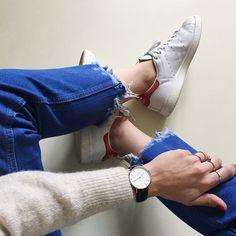 Fringe Denim#ootd #fringedenim #adidas #stansmith #danielwellington