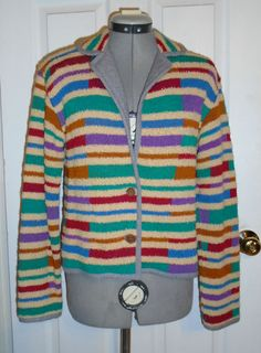 Vintage 70's knit striped sweater sz M YvFJcM1