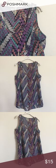 Purple peach pattern printed loose tank small Excellent condition. Bundle to save 25%! Urban Outfitters Tops