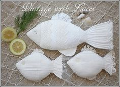 Linen and Lace Fishes by Vintage with Laces