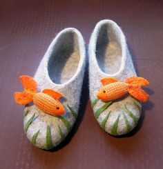 Felted slippers. GOLDFISH by InnaGanke on Etsy, $75.00. These would make such a great and one they will never forget. A new mom would just love these.