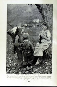 Children hiking, stopping to visit the neighbor girl. In those days, children were more sufficient an mature, male and female.