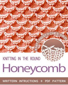 Honeycomb in the round – Knitting patterns, knitting designs, knitting for beginners. Knit Stitches For Beginners, Types Of Knitting Stitches, Knitting Stiches, Loom Knitting, Knitting Socks, Knitting Patterns Free, Crochet Stitches, Baby Knitting, Stitch Patterns