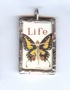 Vintage Life Magazine Butterfly Poster Pendant by bymisty on Etsy, $12.00