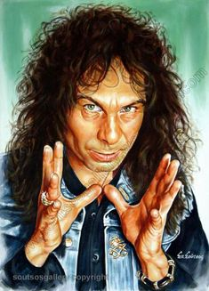 Ronnie James Dio, Black Sabbath, Canvas Print, Wall Art, original painting portrait on canvas Hard Rock, James Dio, Legendary Singers, Music Artwork, Black Sabbath, Rock Music, Rock Bands, Rock N Roll, Movie Posters