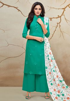 Sea Green Cotton Kameez With Palazzo 183348 Sharara Suit, Pakistani Salwar Kameez, Fashion Pants, Fashion Dresses, Palazzo Suit, Kurta Designs, Indian Designer Wear, How To Dye Fabric, Green Fabric
