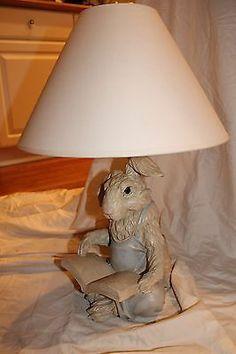 Chrisdon Rabbit Bunny Reading Childs Nursery Table Lamp Excellent Condition | eBay