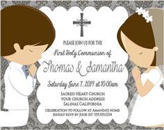 First Communion Invitation Twins
