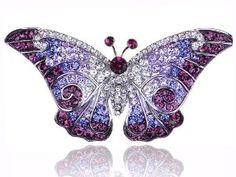 Empress Monarch Purple Winged Butterfly Swarovski Crystal Rhinestone Pin.