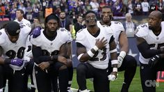 NFL players kneel in protest amid beef with Trump - CNN. All over the place, football players are standing (er, not standing) against trump. Nfl Players Kneeling, Kneeling During National Anthem, Donald Trump, American Athletes, Taking A Knee, Trump Protest, Nfl Memes, Thing 1