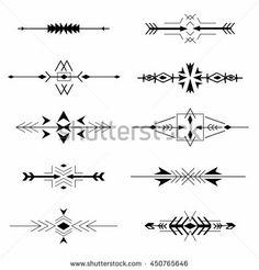 Boho tribal Aztec ethnic style borders set. Vector illustration