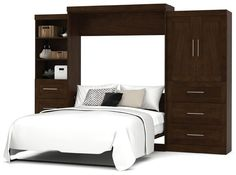 "Bestar - Pur Chocolate 126"" Queen Wall Storage Bed - 26889-69"