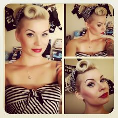 Pinup rockabilly makeup and hair with red lips and bandana