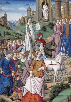 Les Triomphes de Pétrarque. Traduction rouennaise anonyme. 1470. (Ms offert par G. d'Amboise à Louis XII Rouen en 1503). Ms Français 594. BnF.  [Le triomphe de la chasteté (2/2)]