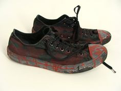 Solid Black ZOMBIE SHOES Low Tops Chucks Bloody Costume usa mens 10 womens 12