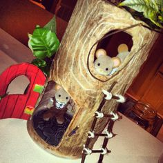 """Mouse House for Calico Critter using oatmeal canister and modge podged tissue paper as """"tree bark"""""""