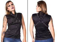 Every girl should own a Rocker Vest with straps. This vest is perfect to give a goth, punk, futuristic, cyber, modern or minimalist touch to your look.