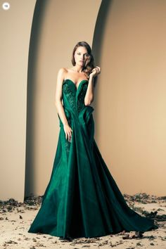 Ball gown in shimmery sea green silk. A beautiful creation by Lebanese haute couture designer Nakad.